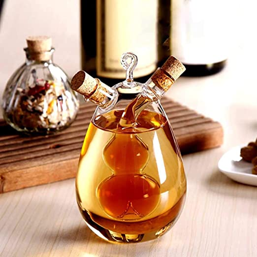 LARRRY 2 en 1 Aceite de Oliva dispensador 2 Enchufe de Cristal ...