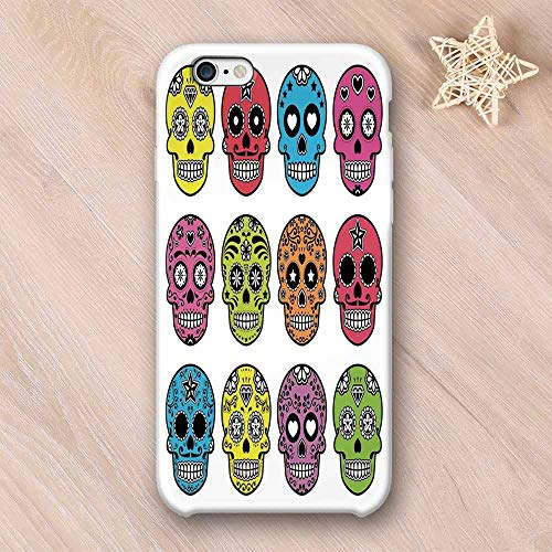 Skull Compatible with iPhone Case,Ornate Colorful Traditional Mexian Halloween Skull Icons Dead Humor Folk Art Print Compatible with iPhone X,iPhone 6/6s