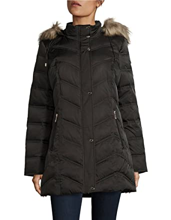 Kenneth Cole New York Womens Chevron Quilted Coat with Fur Hood at ... : kenneth cole chevron quilted coat - Adamdwight.com