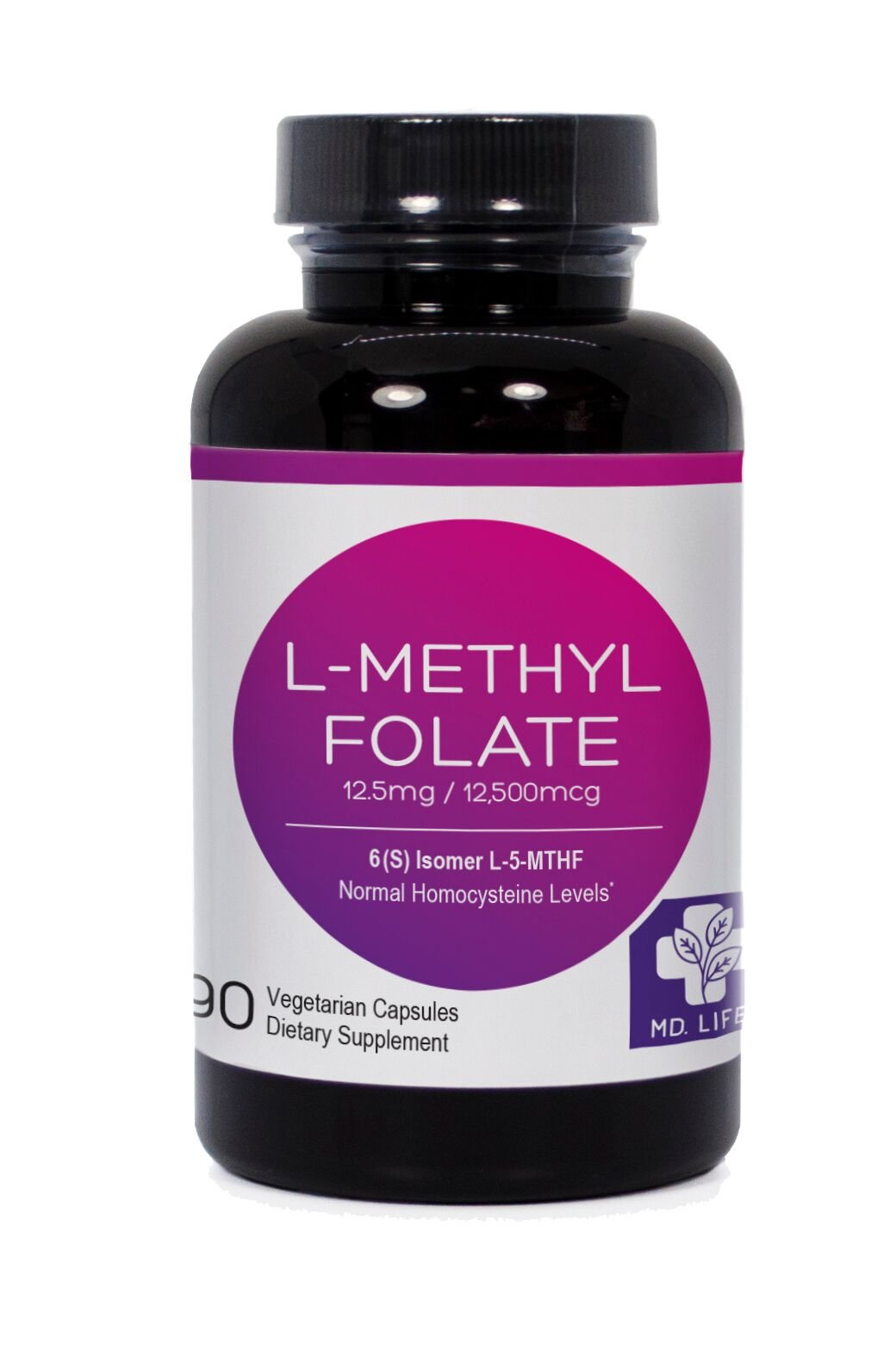 MD.LIFE 5-MTHF L-Methylfolate 12.5 MG Professional Strength Active Folate 90 Capsules (90)