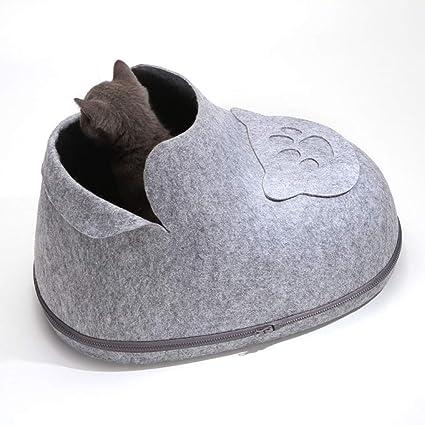 QZX Casa de Mascotas Cama del Gato del Perro Cueva de Mascotas Cojín Desmontable Lavable Suave ...