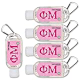Phi Mu Hand Sanitizer with Clip 5-Pack. Moisturizers Aloe Vera and Vitamin E. (1.5 oz Containers) Greek Sorority Gifts, Personal Care Items for Women, Stocking Stuffers