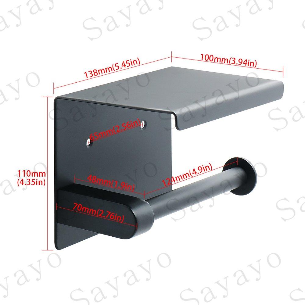 EGG5200-B acciaio inox nero opaco Portarotolo Sayayo per carta igienica con ripiano
