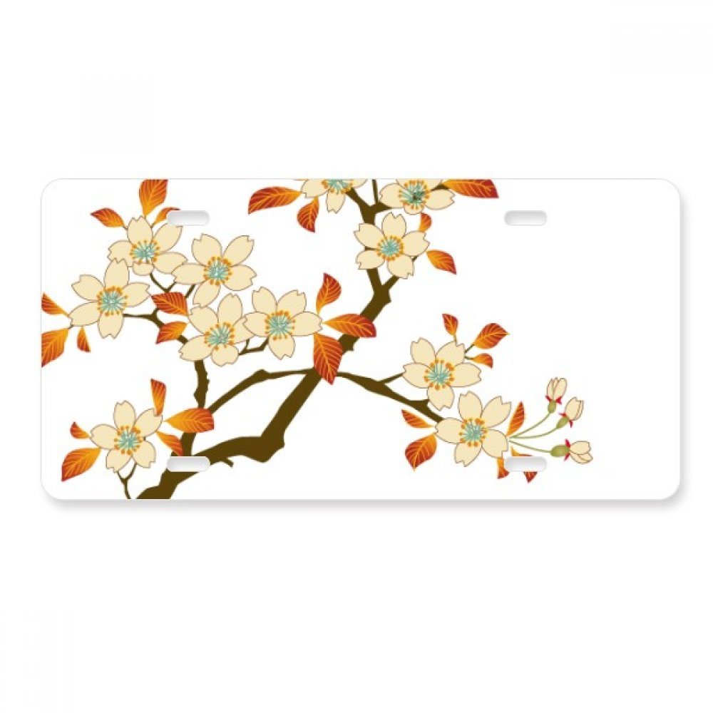 Monliyan Leaves Flower Plant Wallpaper Wall Pattern License Plate Car Decoration Stainless Steel Accessory