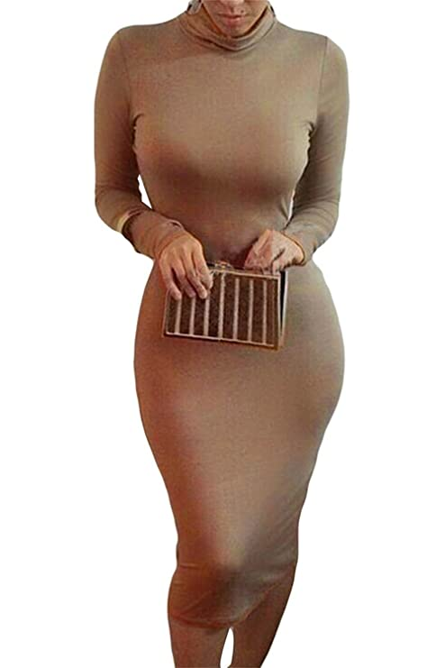 Bess Bridal Women Turtleneck Long Sleeve Stretch Christmas Party Club Midi Dress at Amazon Womens Clothing store: