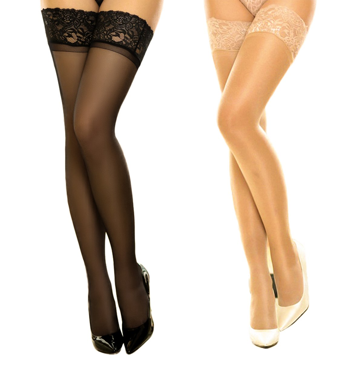 2 Pair Women's Thigh High Stockings Lace Sheer Silky Tights Silicone Stay Up Nylon Pantyhose for DancMolly (Black+Nude, A/B)