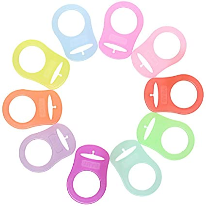 10 Silicone Button Pacifier Dummy Nipple Clip Holder Adapter for Soother