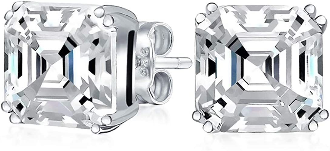 Sterling Silver .925 Solid Stud Earrings Basket Set Cubic Zirconia Square Cut CZ