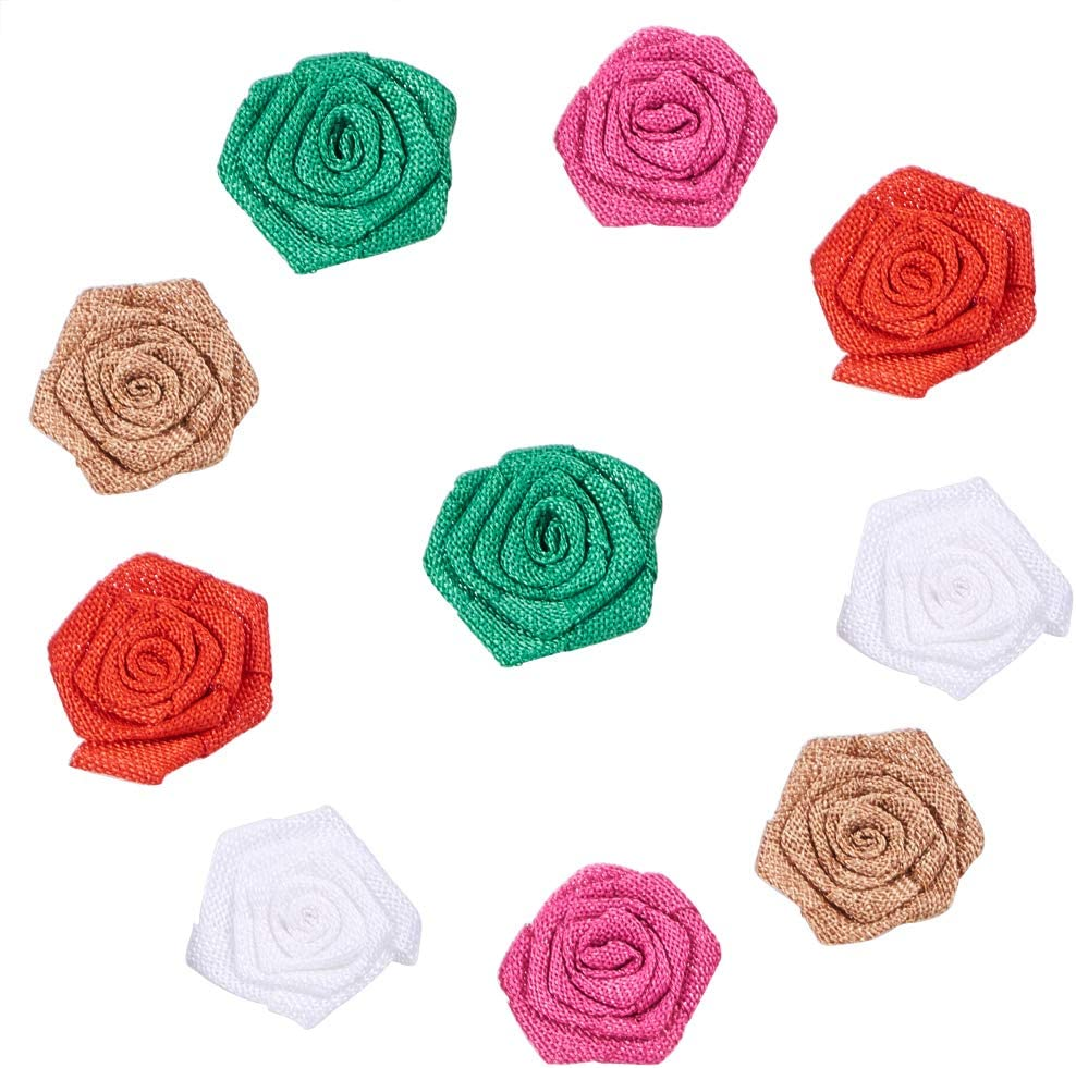PH PandaHall 30PCS Handmade Burlap Lace Flower Rose with Pearl Burlap Rose Linen Flower for DIY Craft Making and Christmas Home Wedding Party Decoration