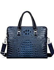 Mens Leather Briefcase Crocodile Pattern Handbag Organizer Briefcase for Men