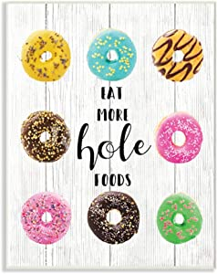 Stupell Industries Eat More Hole Foods Donuts On White Wood Planks Wall Plaque, 10 x 15, Multi-Color