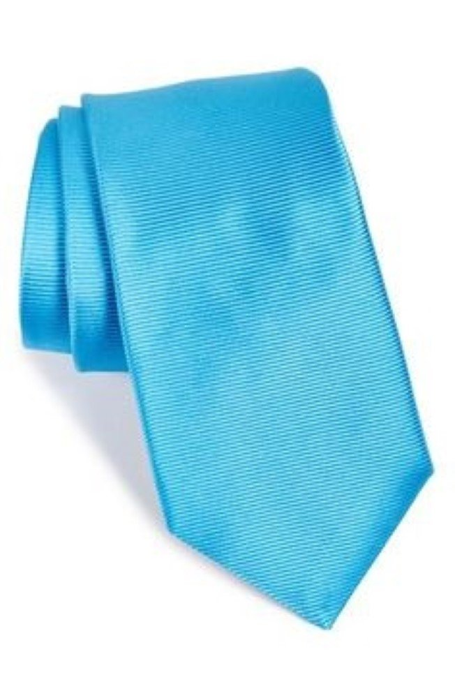 Ted Baker London Solid Twill Woven Silk Tie Summer Brights (Blue)