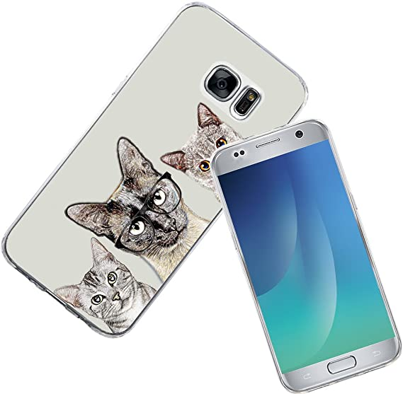 best service b5c91 92fc5 Note 5 Case Cat - Case for Galaxy Note5 - Protector Cover for Samsung Note  5 - Unique Designer Slim Pattern Lovely Kitty Group Cute Cat Animal Design  ...