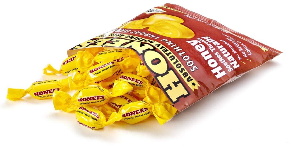 Honees Original Honey Soothing Throat Cough Drops, 20 Count Bag (12 Pack) by Honees