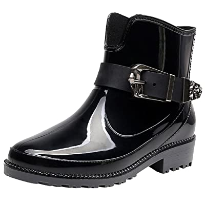 rismart Women's Ankle High Casual Button Snow Waterproof Slip On Rain Boots SN02013(Black, us5.5) | Rain Footwear
