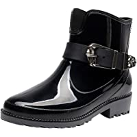rismart Women's Ankle High Casual Button Snow Waterproof Slip On Rain Boots