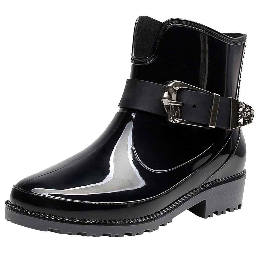 rismart Women's Ankle High Casual Button Snow Waterproof Slip On Rain Boots SN02013(Black,us8)