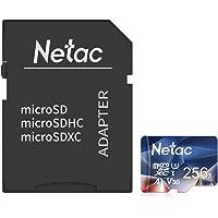 Netac Tarjeta de Memoria de 256GB con Adaptador, Tarjeta Memoria microSDXC(A1, U3, C10, V30, 4K, 667X) UHS-I Velocidad…