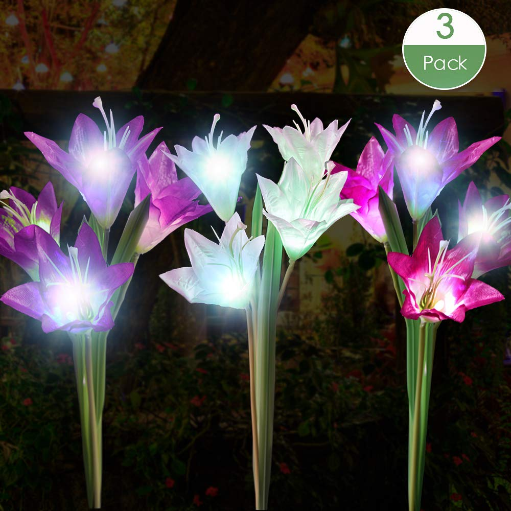 YiFi-Tek Outdoor Solar Garden Stake Lights 3 Pack with 12 Lily Flowers, Solar Flower Lights, Multi-Color Changing LED Solar Decorative Lights Garden, Patio, Backyard(Purple & White & Pink)