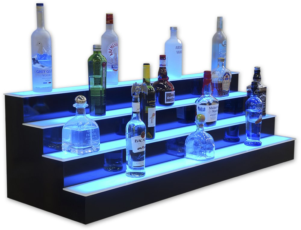 4 Tier LED Lighted Liquor Display (42'' Length) by Customized Designs
