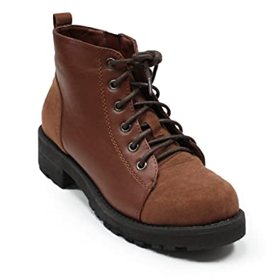 COOL' Women's Military Fashion Lace-up Combat Chunky Sole Ankle Boots with Side Zipper