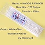 HAODE FASHION 120 Pack Long 14 Inch White Clear