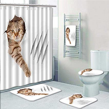amazon com aolankaili 5 piece bathroom set includes shower curtain rh amazon com Cat Shower Curtain Sets Cat Shower Curtain Sets