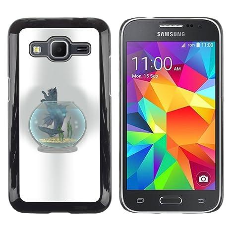 KOKO CASE / Samsung Galaxy Core Prime SM-G360 / tazón pecera gato dibujo del
