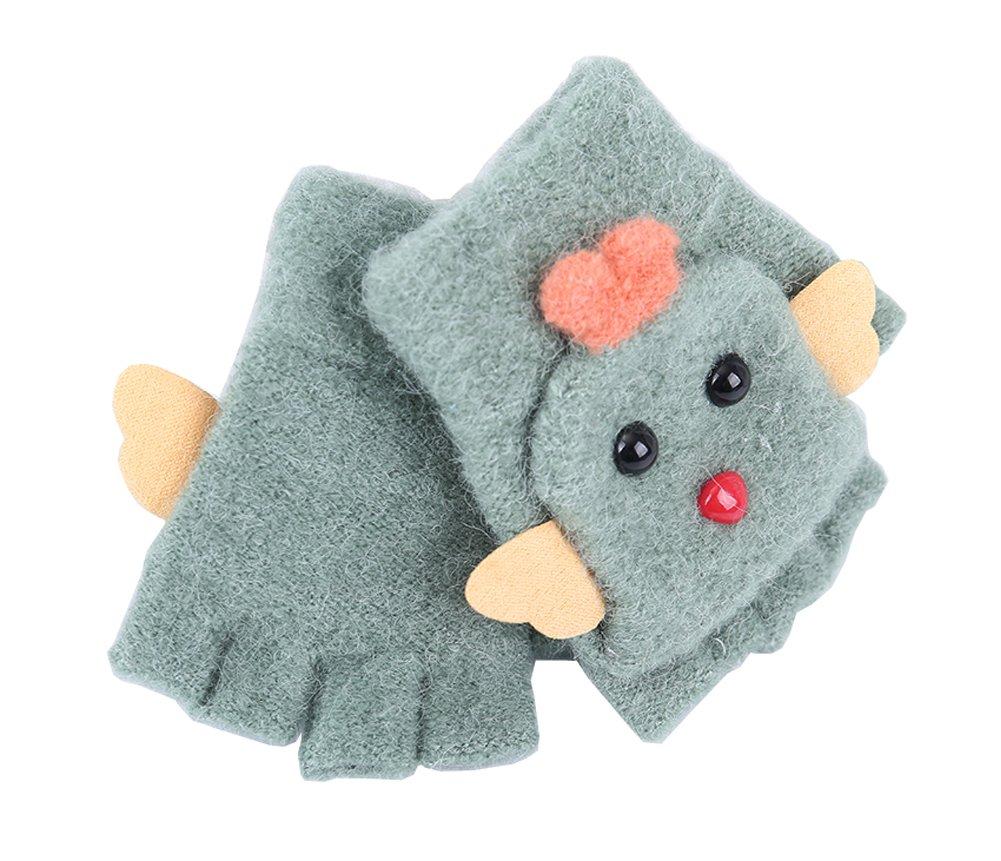 Cute Cartoon Kids Gloves Winter Warm Half Finger Convertible Flip Top Knitted Mittens, #09 East Majik