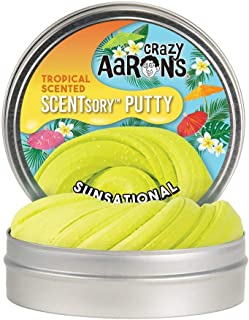 "product image for Crazy Aaron's SCENTsory Scented Thinking Putty, Sunsational, 2.75"" Tin - Tropical Coconut Scented Yellow Putty - Fluffy Texture, Never Dries Out"