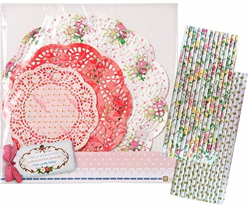 Talking Tables Floral Doilies 25 Pack and Outside the Box Papers Floral and Polka Dot Straws 50 Pack Pink, White, Gold