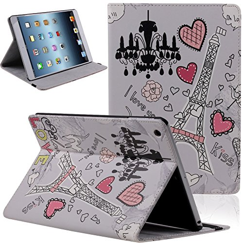 (Case for iPad Air,Case for iPad 5,Flip Case for iPad Air,UZZO Vintage Eiffel Tower in Paris Retro Stamps Pu Leather Book Style Folio Stand Protective Case over for Apple Ipad Air iPad 5 9.7