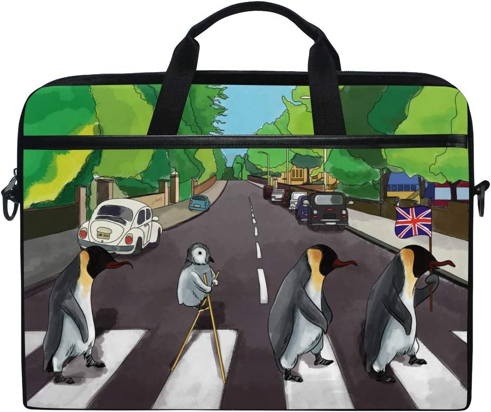 ALAZA Abstract Polar Penguin Animal Abbey Road 15 inch Laptop Case Shoulder Bag Crossbody Briefcase for Women Men Girls Boys with Shoulder Strap Handle, Back to School Gifts