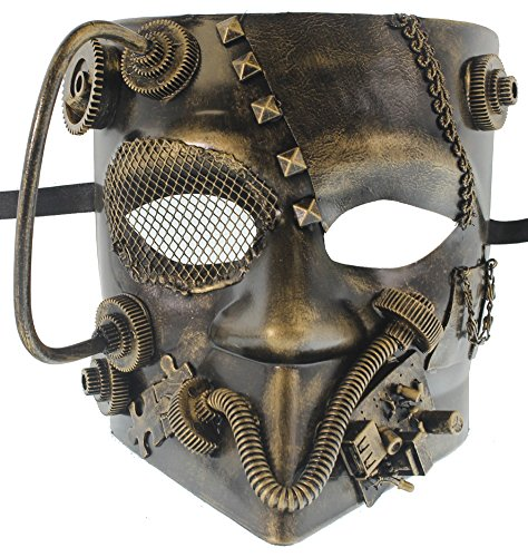 RedSkyTrader Mens Gold and Black Robotic Bauta Venetian Mask One Size Fits Most Gold - Black Venetian Bauta Mask