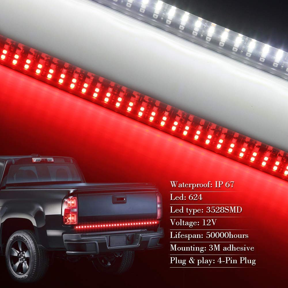 Quad Row 2 Color LED Turn Signal 48 Quad 2color Brake Reverse LED Tail lights No Drill Install for Pickup Trailer SUV ATV RV VAN Car Towing Vehicle White//Red OPL5 48 LED Tailgate Light Bar Strip