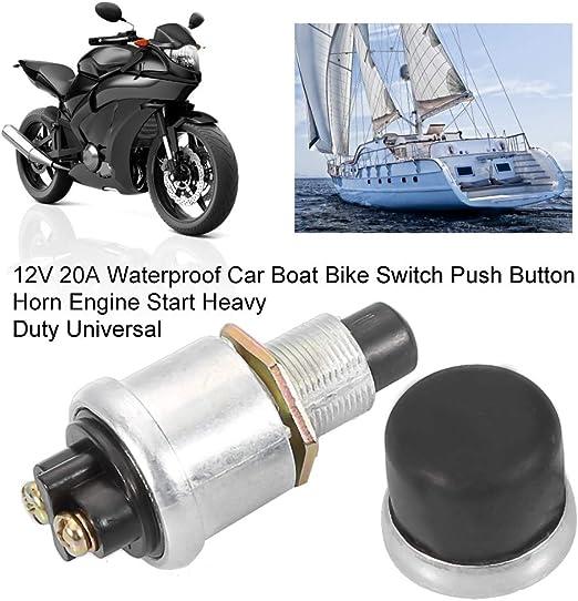Suuonee Hupenknopf Druckschalter Universal 2pin 12v 20a Wasserdicht Auto Boot Fahrradschalter Druckknopf Hupe Motorstart Heavy Duty Auto
