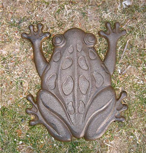 - Set of 6 Cast Iron Frog Stepping Stones Rustic Brown Finish