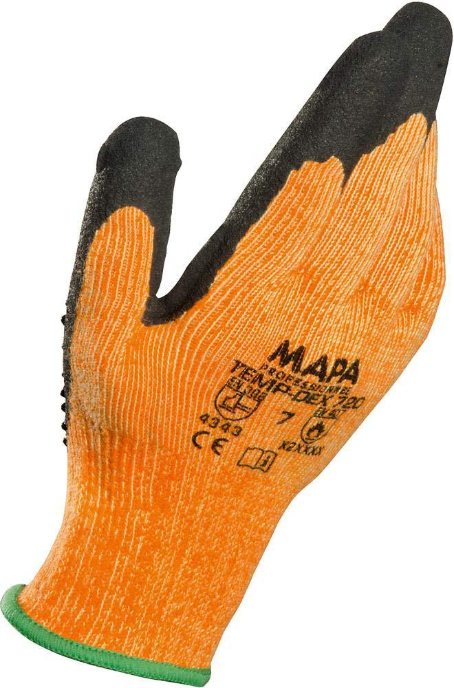 Nitril Schwarz Beschichteter Handschuh TEMP-DEX 720 Baumwoll- und Polyesterfasern Klasse 3 Feinstrick aus Aramid-