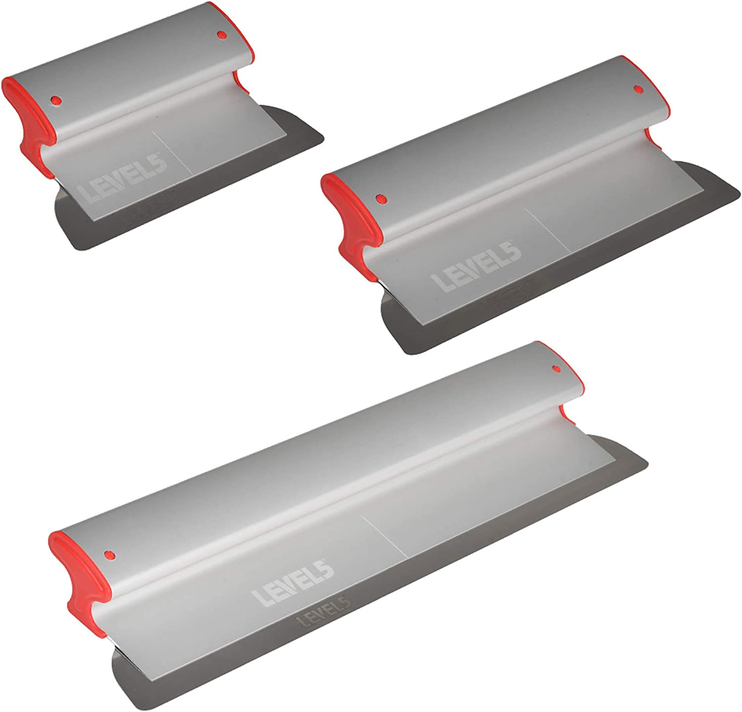 """Stainless Steel Drywall Smoothing Skimming Blades 14/"""" /& 18/"""" w// Extender Handle"""
