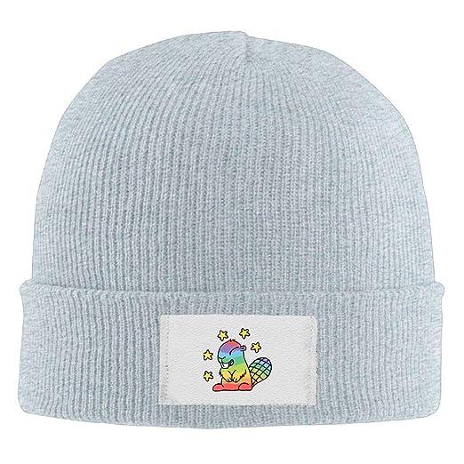 Mens Womens Knit Beanie Hats Rainbow Beaver Warm Winter Skull Caps ... 9652c7a27638
