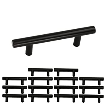 Black Kitchen Cabinet Pulls 3 In Hole Centers 15 Pack Homdiy HD201BK 5in Length Stainless
