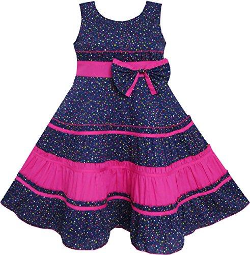 FY94 Girls Dress Bow Tie Polka Dot Print Striped Pattern Pink Size 12