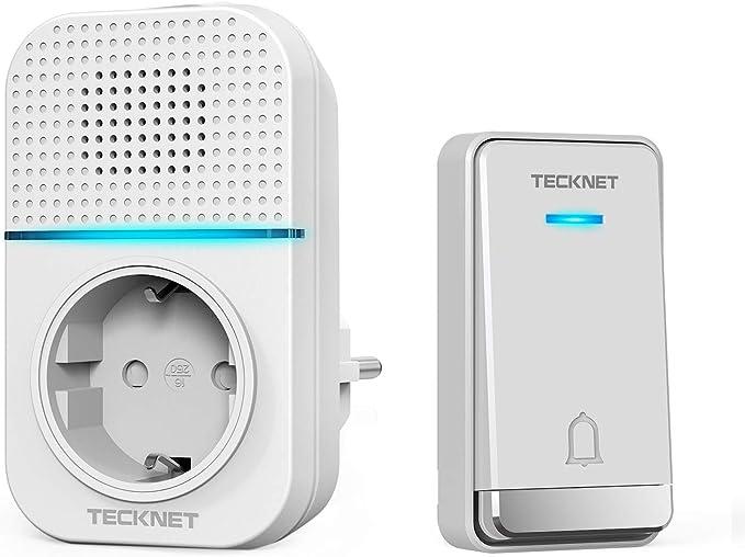 étanche Twin Wall Plug-in sans fil carillon de porte Kit TeckNet sonnette sans fil