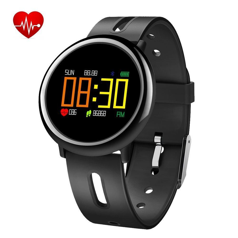 フィットネス防水Activity Tracker Watch、Smart Watch with Heart Rate Monitor血圧Sleep MonitorステップカウンタBluetoothの防水スマートウォッチブレスレットレディースメンズキッズ ブラック B07BHMHGKN ブラック