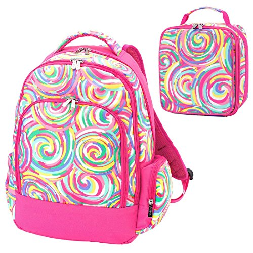 - Summer Sorbet Swirl Pink 2 Piece Polyester Zippered Backpack & Lunch Box Bag Set