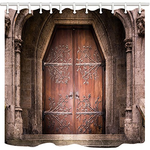 KOTOM Door Decor Shower Curtain, Old Medieval Entrance Wooden Iron Doors Stone Castle Church, Polyester Fabric Bath Curtains with Hooks 69W X 70L Inches