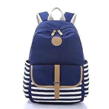 La Naerde ocio Vintage estilo mochilas escuela mochilas para chicas para mujeresdamas chicas adolescentes Students (Azul): Amazon.es: Equipaje