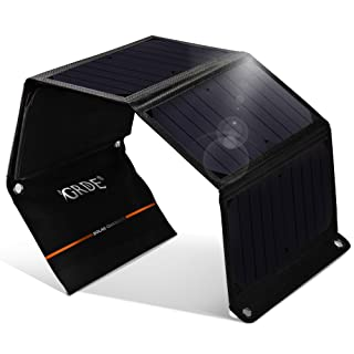 GRDE®Cargador Solar 24W Panel Solar Plegable con Daul USB Puertos Batería Externa Impermeable para Moviles, Tablets, Dispositivos Digitales