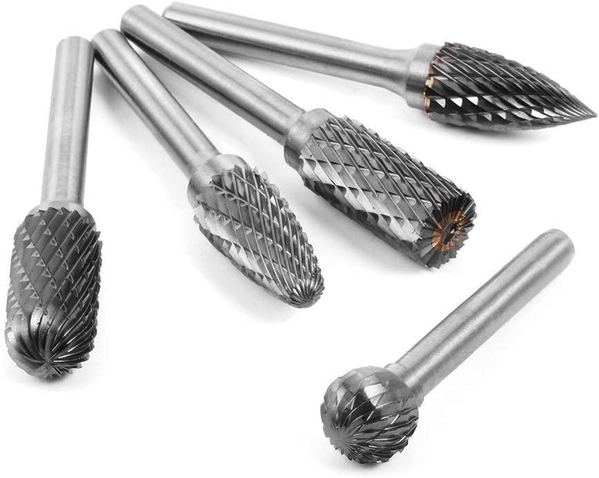 Carbide Burr Set Drilling Metal Carving 5pcs 12mm Head Tungsten Carbide Rotary Point Burr Die Grinder Bit 6mm Shank for DIY Woodworking Engraving Polishing