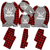 Weixinbuy Men Women Kids Pajamas Set Sleepwear Letter Printed Round Collar Plaid Christmas Family Matching Pjs Set